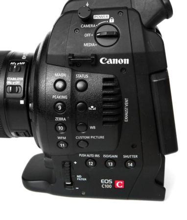 кнопки на корпусе canon c100