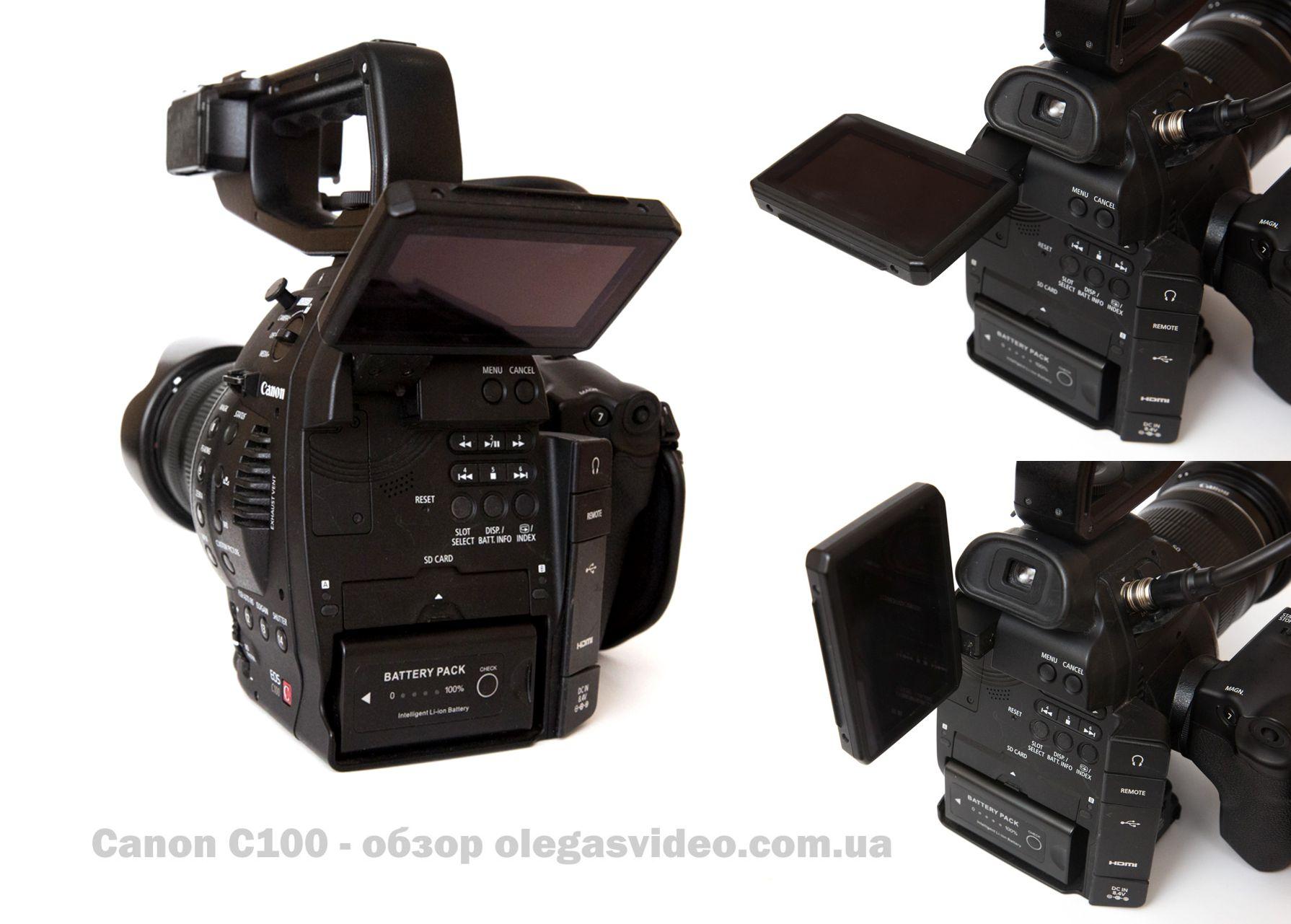 поворотный экранчик canon c100